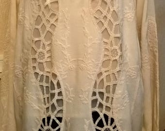 Silk Embroidered tunic you cream viscose