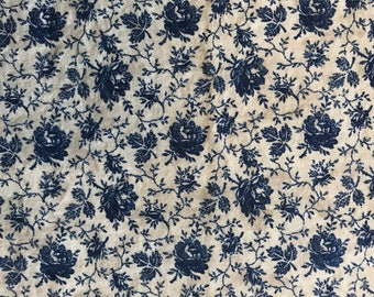 Blue floral cotton calico