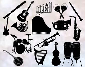 SVG ~ {Musical Instuments}    Music svg files   Silhouette   Cricut   Piano   Guitar   Trumpet   Maracas   Flute   Drums   svg, png files