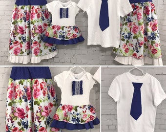 Custom made matching sibling outfits