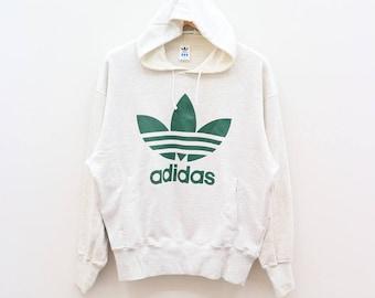 Vintage ADIDAS Trefoil Sportswear Big Logo White Hoodies Sweater Sweatshirt Size M