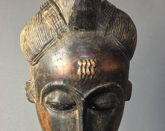 Gorgeous mask Baule old Ivory Coast - tribal Art African.