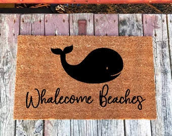 Whalecome Beaches Welcome Doormat, Coastal Decor, Beach Doormat, Beach Home Decor, Beach Home Gifts, Nautical Doormat, Nautical Home Decor