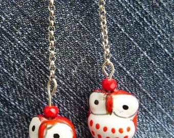ceramic owls earrings