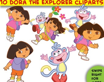 14 Dora the Explorer SVG,Dora the explorer Cliparts,SVG cut files,Dora the explorer decoration,Birthday invitation,png,dxf,pdf,Vector,Cricut