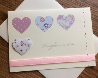Pink love heart 'Daughter-in-law' card