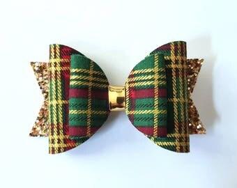Green tartan and gold hair bow - girls hair accessory - hair clip