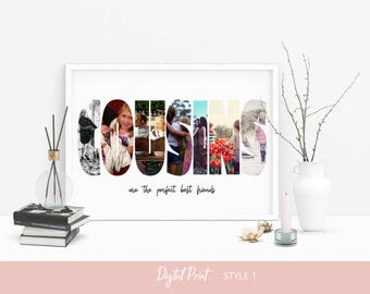 Custom Cousins Photo Collage, Personalized Picture Collage, Cousin Gifts, Cousins Make The Best Friends, Gift Ideas, Digital File
