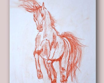 Sketch the blood of a rearing horse