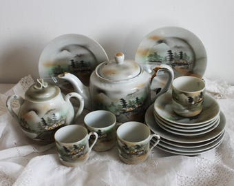 Set small vintage coffee cups espresso Japanese teacups set landscape made in Japan grey china teacups and saucers teapot oriental decor
