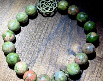 Unakite & Bronze Rose Beaded Bracelet