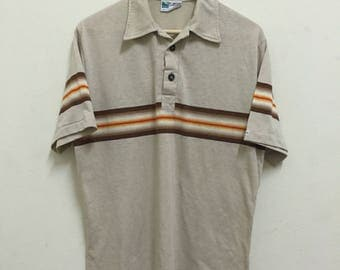Vintage 70s/80s Stripes Collars Button T shirt.by Off shore.skate sz L.