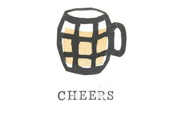 Cheers A6 greetings card - From hand-stamped artwork,  pint of beer - birthday - thanks - welldone