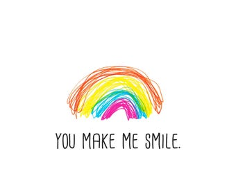 You make me smile - rainbow card with coloured envelope