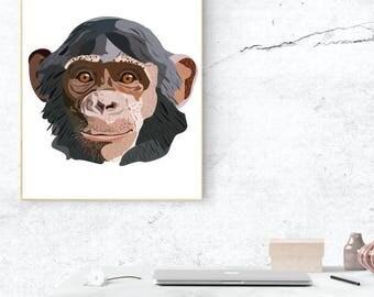 Monkey A4 Print