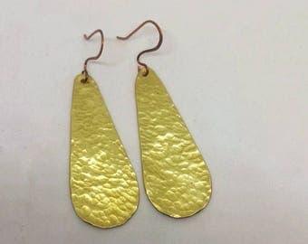 Brass hammered teardrop earrings for women Brass & copper earrings for her Boho Jewelry Brass jewellery Brass jewelry gift for her