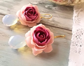 Romantic earrings flowers,Polymer clay earings,Polymer clay flowers,Polygon moonstone,silver 925o Gilded