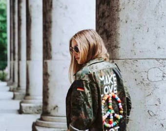 Personalized Original Military Jacket Painted by Hand