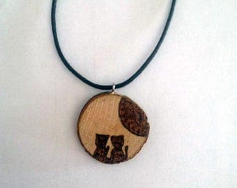 Necklace Pendant Pyrography Wood Moon Cat Cats Cats