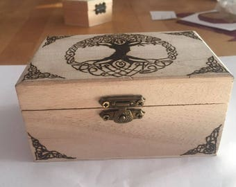 Jewelry box Chest trunk Wood pyrography Fantasy Celtic tree of life