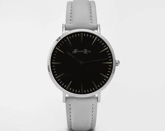 Ladies Watch, Women Leather bracelet, minimalist, gift for her, cheap leather watch, Christmas Watch, Grey Leather (Silver/Black)