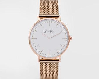 Ladies Watch Rose Gold Round Watch White Watch Watch Bracelet Rose Gold Watch Womens Gold Watch Girls Watch White Face watch Ladies Wrist