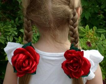 Red rose, flower rose hair, red rose flower, red flower hair, red hair flower, hair accessories, braid hair accessory, hair kanzashi