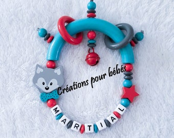 "Rattle personalized boy ""Fox"" wood beads"