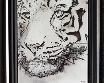 White Tiger print on plexiglass, Morgane Monnet, signed painting on the back