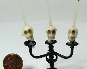 Skull Candle Halloween Candelabra