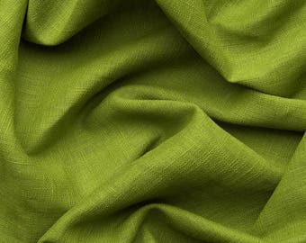 Linen fabric - spring green - Certified linen fabric by yard or by meter . Medium dense fabric, For clothes and other usage