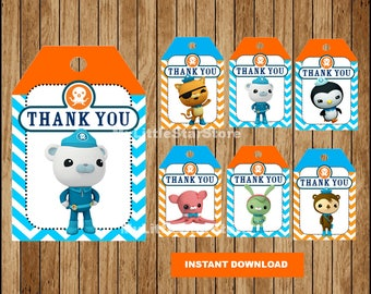 Octonauts Thank you tags, Printable Octonauts tags, Octonauts party tags Instant download
