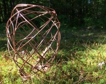 Copper Orchid Woven Metal Flower Pot or Basket Scultural Art