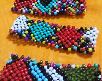 Beaded African Cuff Bangle,Multicolored