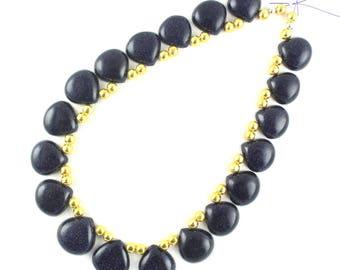 "Blue Sunstone Gemstone,Sunstone Briolette Beads,12"" Long,Sunstone,Blue Color,Beads,Smooth Sunstone,Heart Shape,Sunstone Beads,15-18mm,Sale"