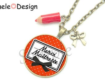 Necklace gift teacher - thank you teacher! red pencil - black and Red cabochon school bow