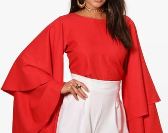 Large Tiered Layer Sleeve Top - Long Sleeve Back Plunge Tiered Top