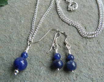 Sodalite Earring and Necklace Set, Sodalite Jewellery Set, Blue Sodalite Beads, Birthday Gift, Anniversary, Bridesmaid, Earring Necklace Set