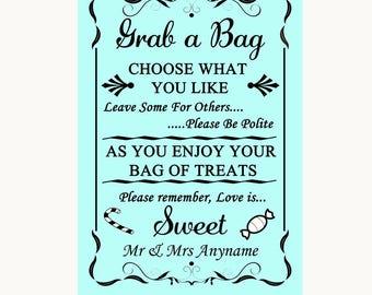 Aqua Grab A Bag Candy Buffet Cart Sweets Personalised Wedding Sign