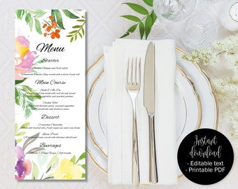 Wedding Day Menu Template, Printable Wedding Menu, Wedding Menu Text Editable, Floral Watercolor Text Edit PDF Wedding Menu, Border 7 MENU-7