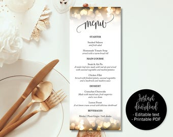 Gold Hearts Wedding Day Menu Template, Printable Wedding Menu Cards, Editable Wedding Menu Template, Menu Wedding Download, Menu Template