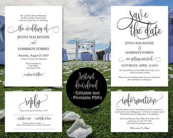 Printable Wedding Invitation Template Set, Save the Date Printable, Invite, RSVP Reply Card, Guest Information, Editable Wedding Templates