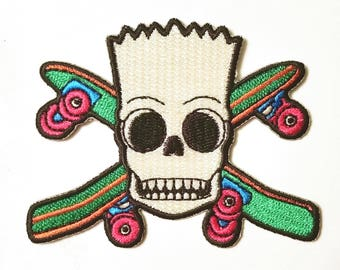 """Bart Skull Patch **FREE SHIPPING** 3"""" Iron On Embroidered Patch"""