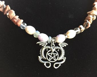 Twin Flame Dragon Necklace with Rhodonite and Purple Iolite