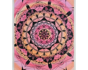 Mandala picture. Handmade. layout box drawn and painted by hand