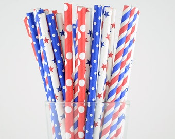 4th of July Paper Straw Mix - Party Decor Supply - Cake Pop Sticks - Party Favor