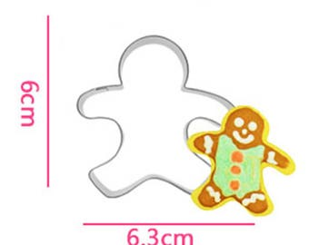 Gingerbread Man Cookie Cutter- Cup Hanging Biscuits - Fondant Biscuit Mold - Pastry Baking Tool Set