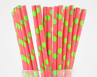 Pink/Green Polka Dots Paper Straws - Party Decor Supply - Cake Pop Sticks - Party Favor