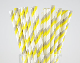 Grey/Yellow Striped Paper Straws - Party Decor Supply - Cake Pop Sticks - Party Favor