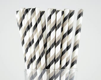 Black/Grey Striped Paper Straws - Party Decor Supply - Cake Pop Sticks - Party Favor